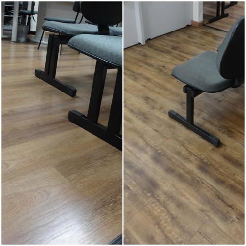 Piso laminado e piso vinílico combinados no mesmo escritório