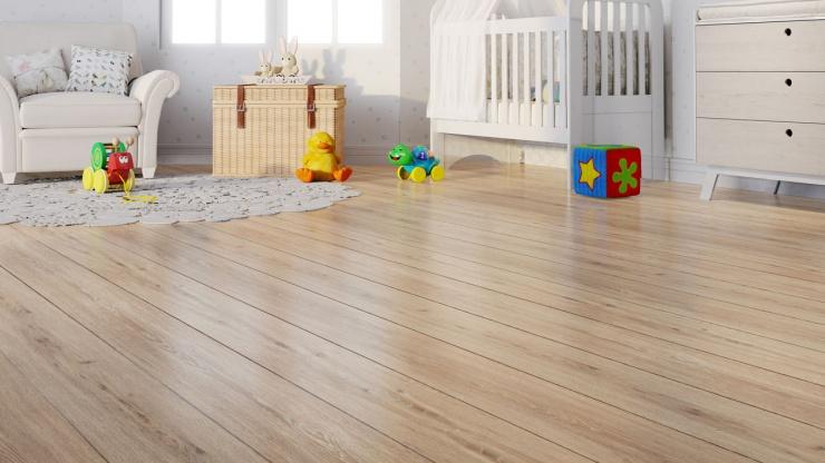 Quartos de bebê decorados com piso vinílico e piso laminado
