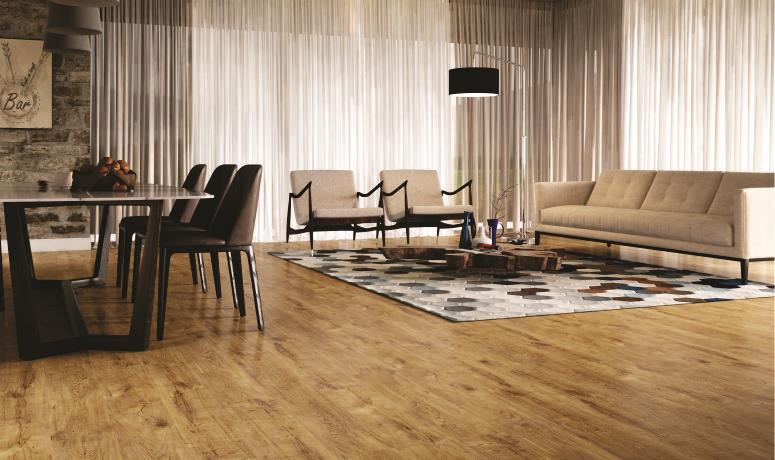 Decore a sala de estar com piso laminado