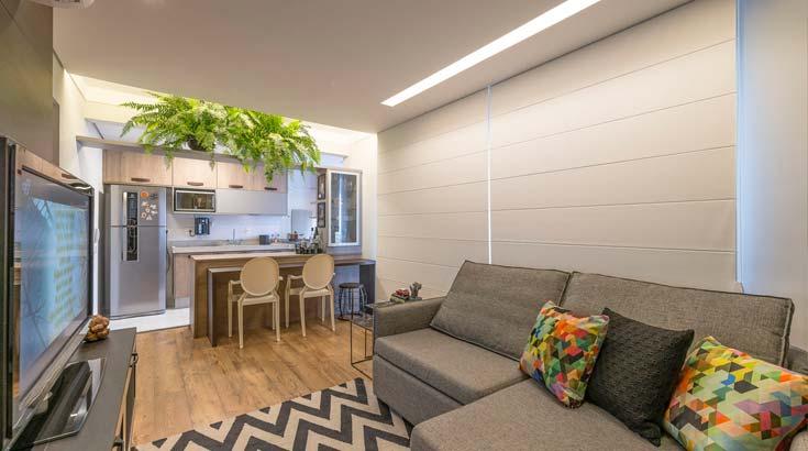 Projeto descontraído integra sala e cozinha